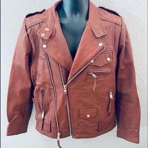 Comune Leather Goods Burnt Orange Moto Jacket